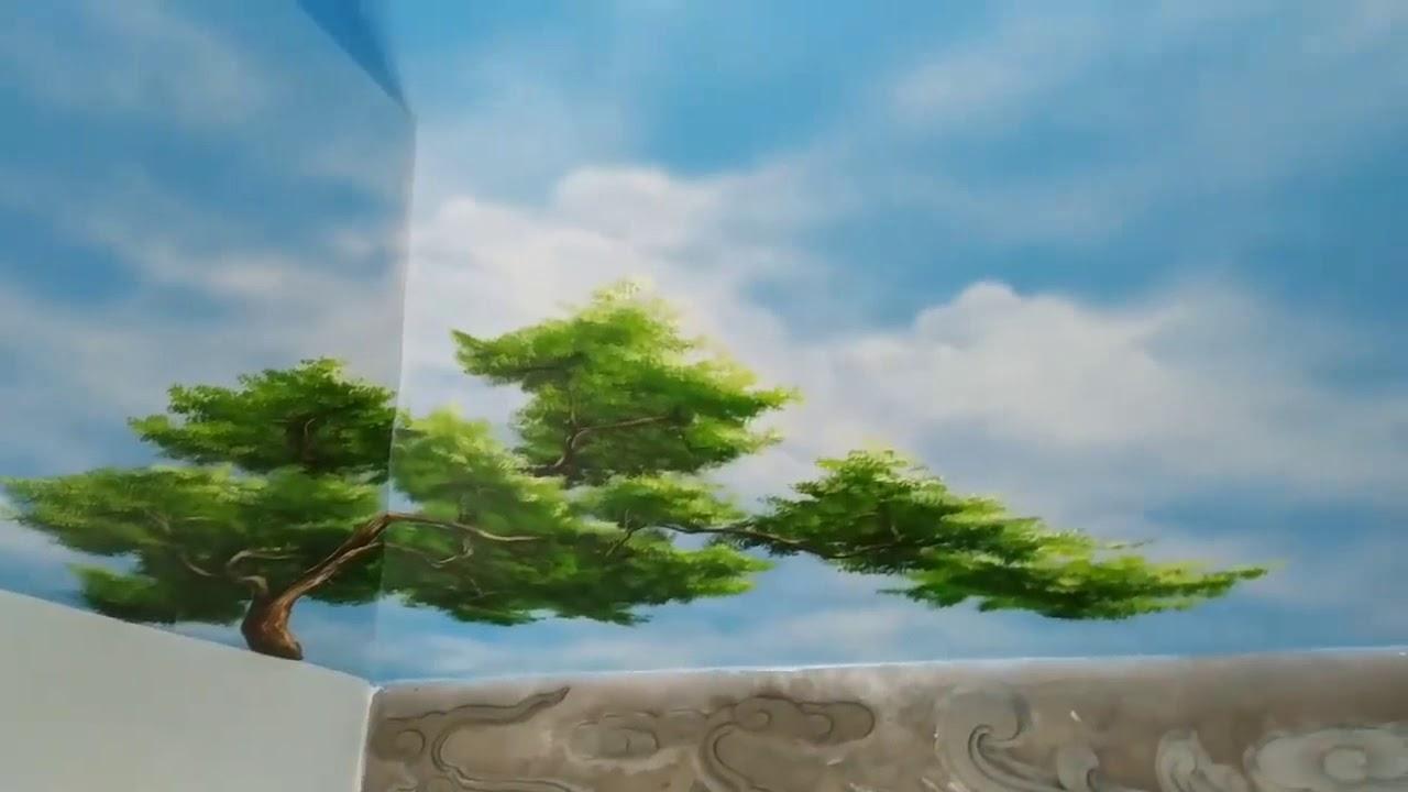 Vẽ trần mây với chim bồ câu bay tại Cầu Giấy, Hà Nội – Vẽ tranh nghệ thuật cực đẹp LH Zalo 079911002