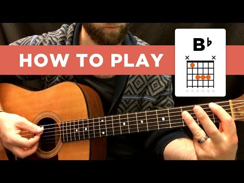 how to play the b-flat chord (bb), easy way - hard way