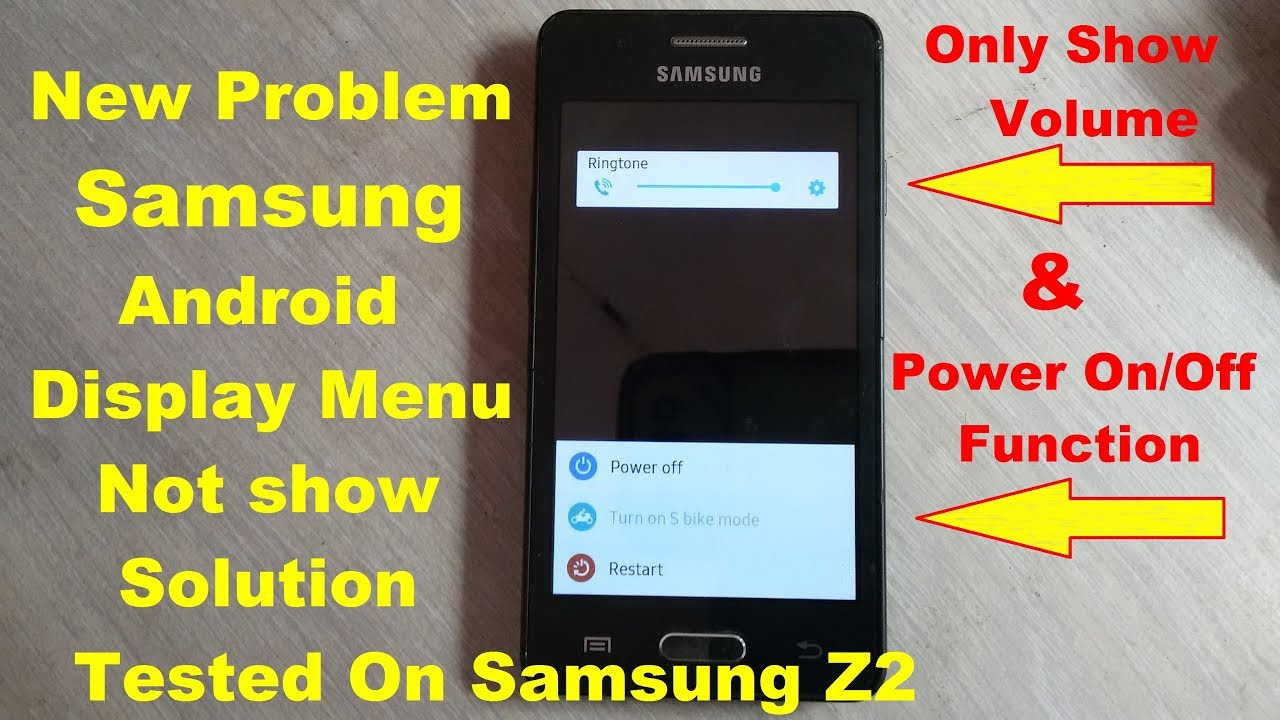 New Fault Samsung Android Display Menu Not Show Problem 100% Solution  Tested On Samsung Z2