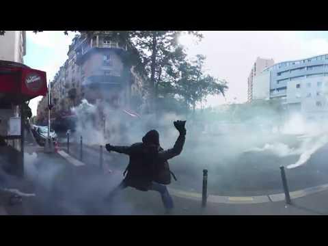 360° footage captures fiery anti-labour reform demo rocking Paris