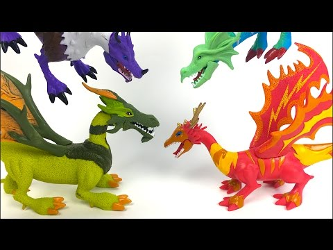CHOMPING MOUTH DINOSAURS AND DRAGONS WITH T-REX TYRANNOSAURUS REX  DRAGONS GRIFFINS -  UNBOXING
