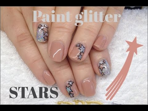 How To  Paint Glitter Stars With CND Shellac & Nail Polish Nail Art Tutorial