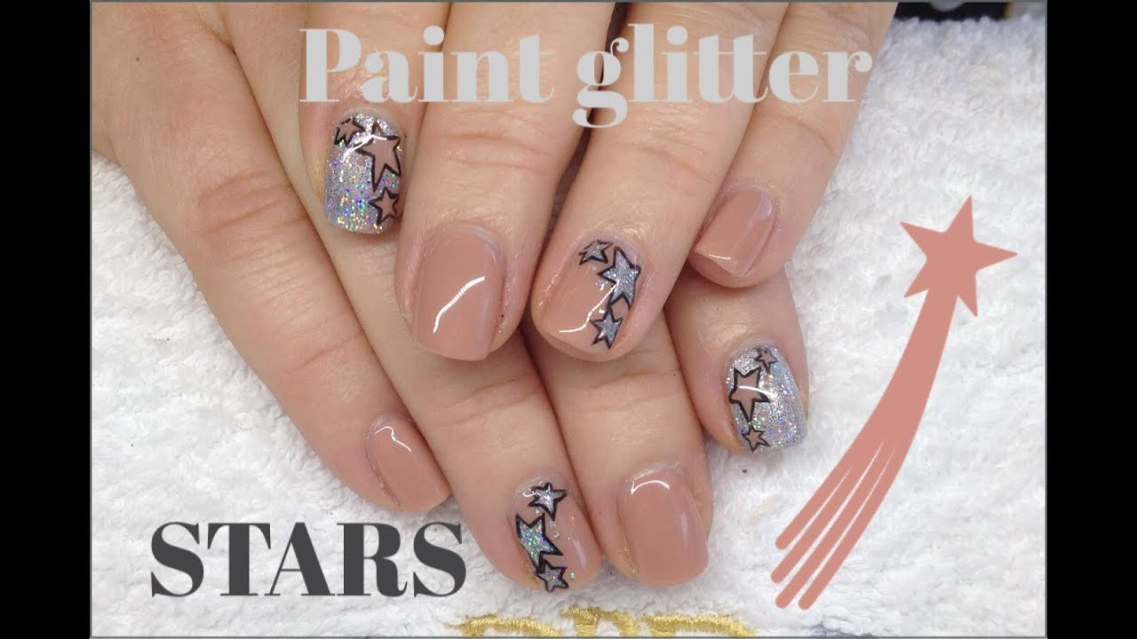 How To Paint Glitter Stars With CND Shellac & Nail Polish Nail Art ...