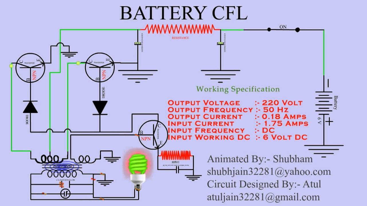animated cfl circuit in english language youtube rh youtube com cfl circuit diagram and working 12v cfl circuit diagram