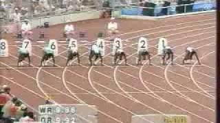 FINALE 100 M BARCELONE 1992 JEUX OLYMPIQUES