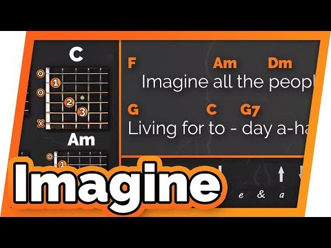Imagine - John Lennon - Play Along / Guitar Karaoke // Easy Chords