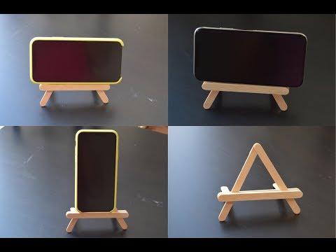 DIY POPSICLE STICK MOBILE HOLDER | Popsicle stick crafts | phone stand