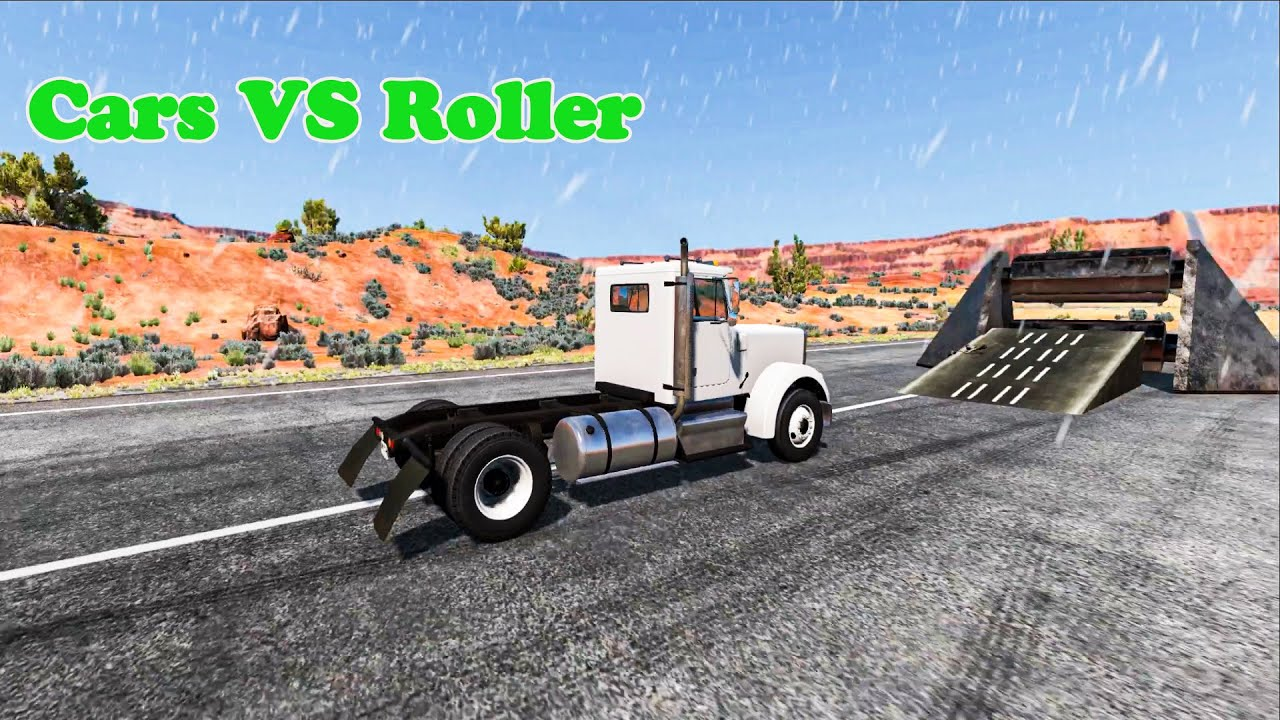 Cars vs Roller -  BeamNG Driver Challenges #7