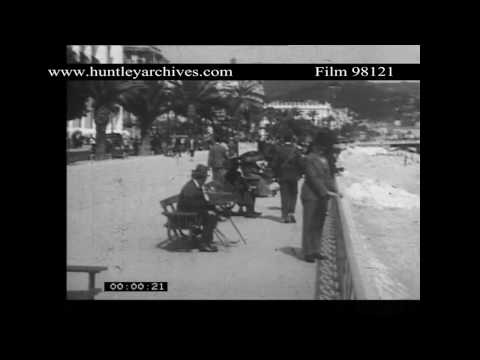 Nice, South of France Seafront in 1932.  Archive film 98121