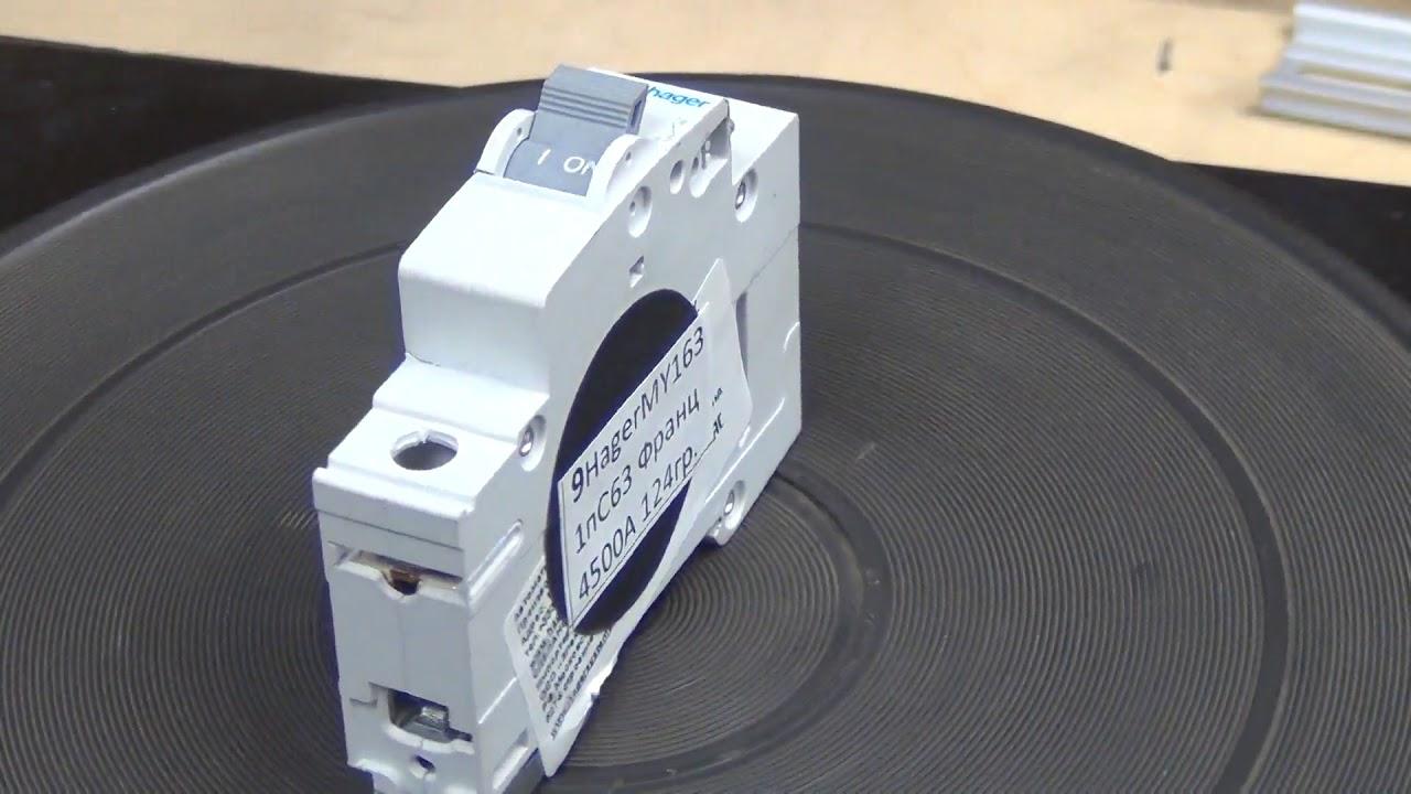 Сравнение  девятнадцати разных модульных автоматов на токе 63 ампера