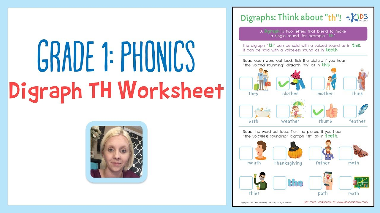 Grade 1 Phonics Digraph Th Worksheets Rhyming Words Kids Academy Youtube
