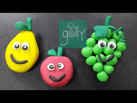 How to make popular fruits clay modelling for kids | Clay toys making for kids | Apple Mango grape