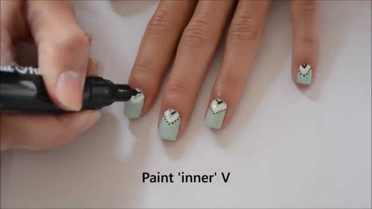 Easy Aztec Nail Art Design Tutorial Youtube