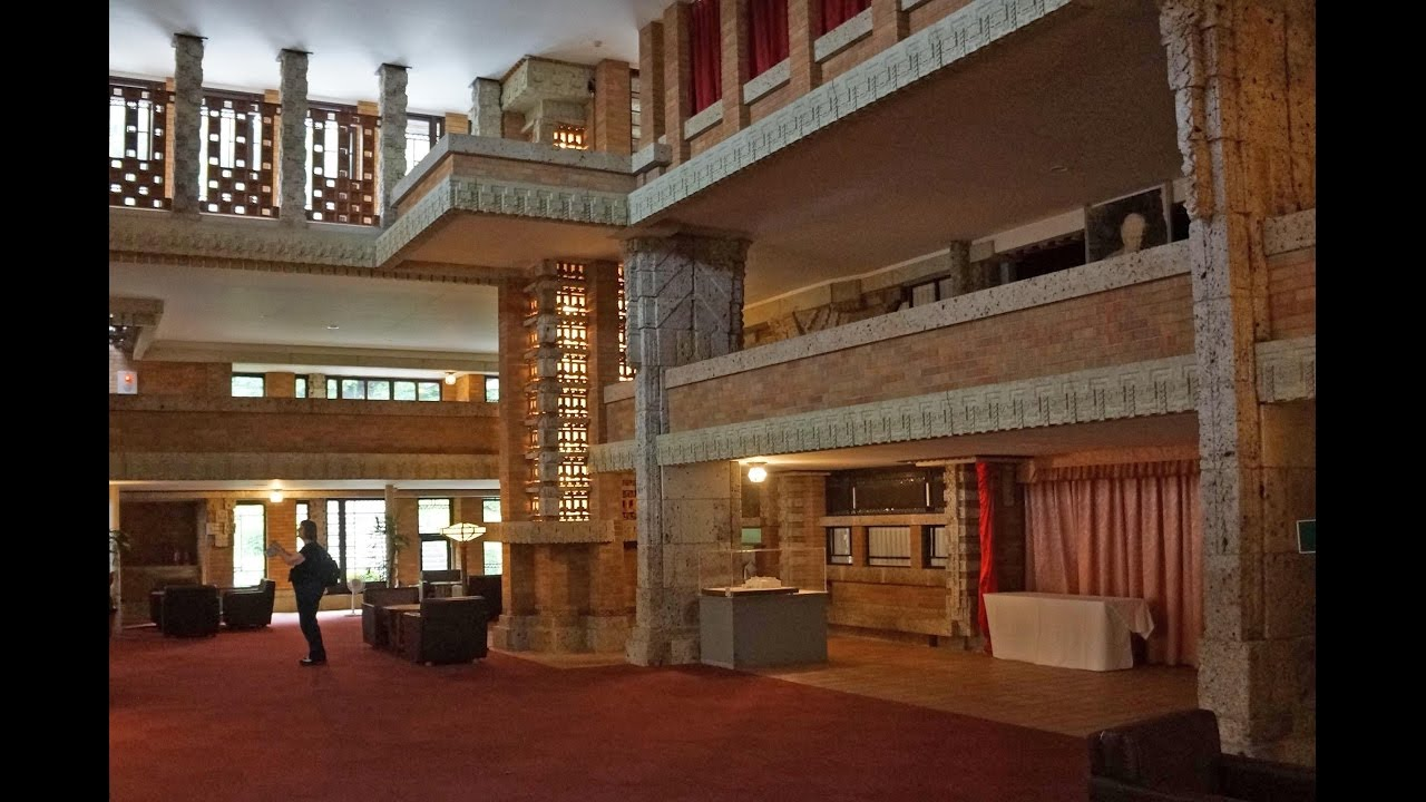 central lobby interiors imperial hotel frank lloyd wright youtube. Black Bedroom Furniture Sets. Home Design Ideas