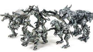 Transformers Movie Dinobots Grimlock Repaint Slug Slash Strafe Scorn Dinosaur Robot Toys