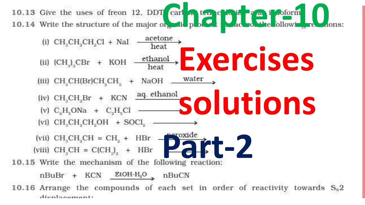 12th-NCERT Chemistry Haloalkanes Haloarenes   exercise solution part-2  chapter 10  class 12 (Hindi)
