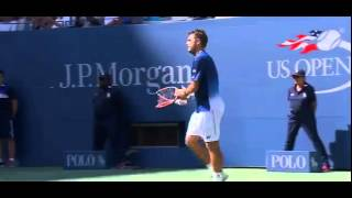 Wawrinka Snaps Racket then Gives it to a Fan (9-7-15)