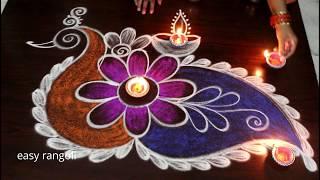 Creative Peacock rangoli kolam designs for Diwai 2018 || Deepavali muggulu