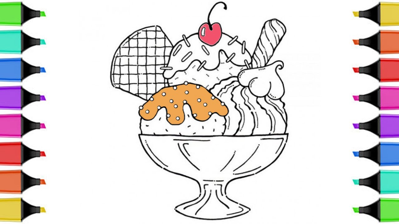 how to draw an ice cream coloring pages for kids kids learn