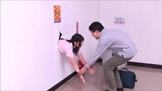 Poor Japanese Girl Ai Uehara Stuck in Wall :(
