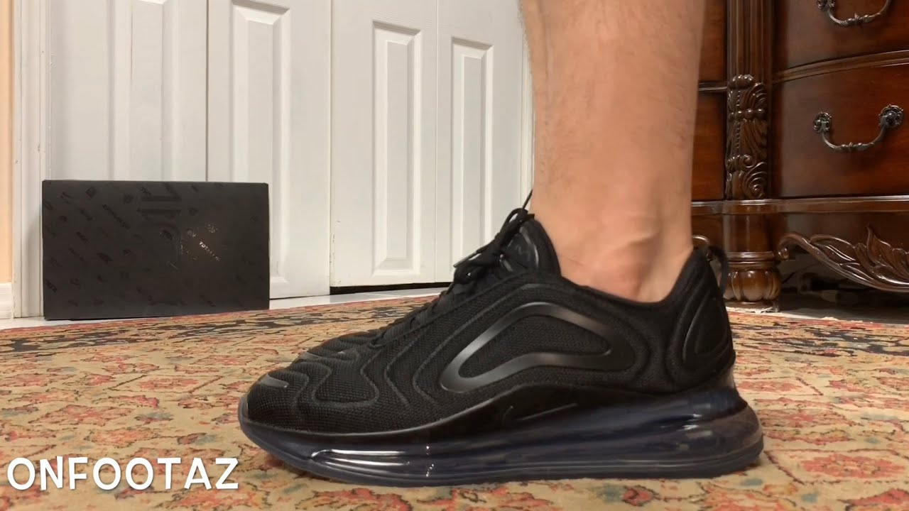 Nike Air Max 720 Triple Black Mesh On Foot