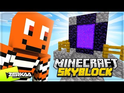 BUILDING A NETHER Portal In The Sky! (Minecraft Skyblock #4)