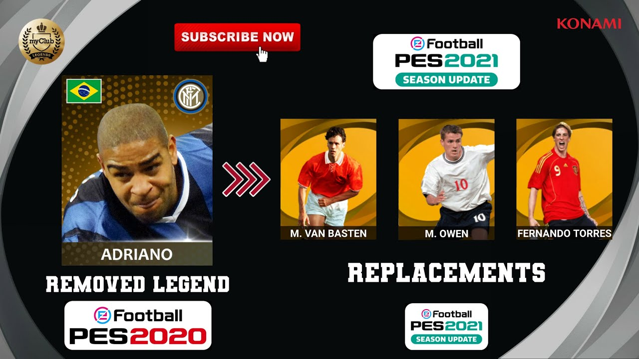 PES 2021 | REPLACEMENTS OF ALL REMOVED LEGENDS (Officially By KONAMI) Feat. Adriano, Baresi, Zanetti
