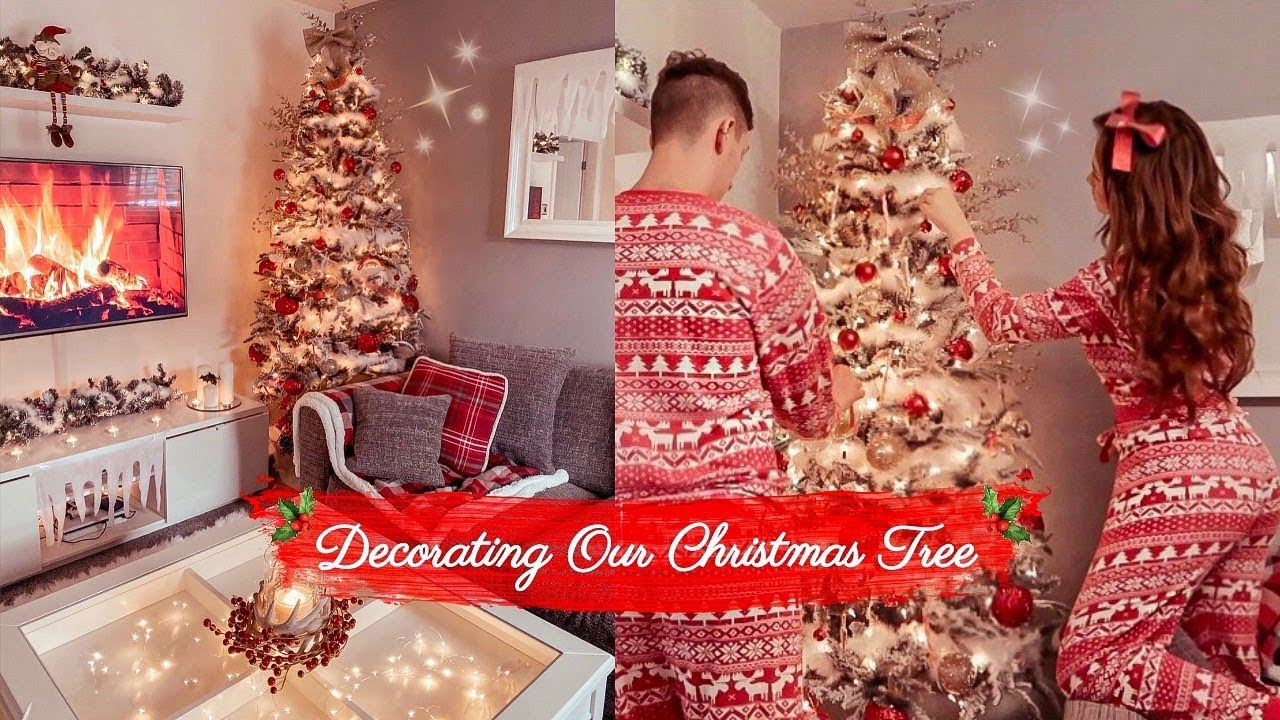 Decorating Our Christmas Tree Red And Gold Theme 2019 Youtube