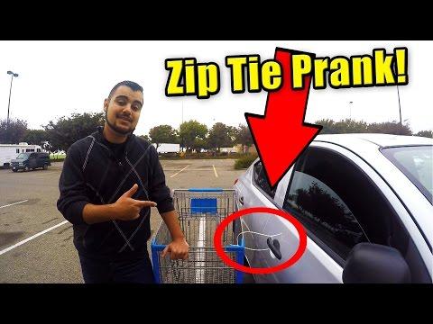 Best Zip Tie Shopping Cart Prank on Cars