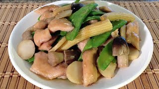 Stir-Fry Chicken Snow Peas Water Chestnuts-Chinese Food Recipes