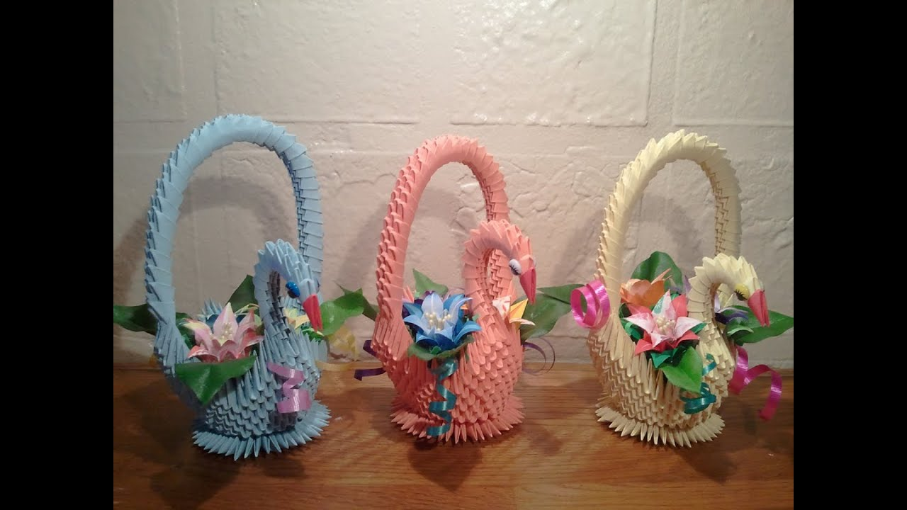 How to make 3d origami swan basket youtube