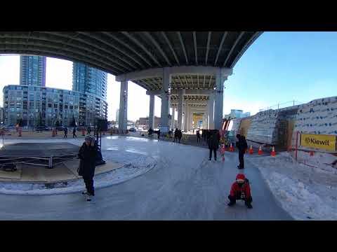 360 Video: Ice skating below Toronto's Gardiner Expressway on The Bentway Trail