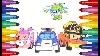 Robocar Poli  Roy Amber Helly online coloring Робокар Поли Эмбер Рой Хелли онлайн раскраска