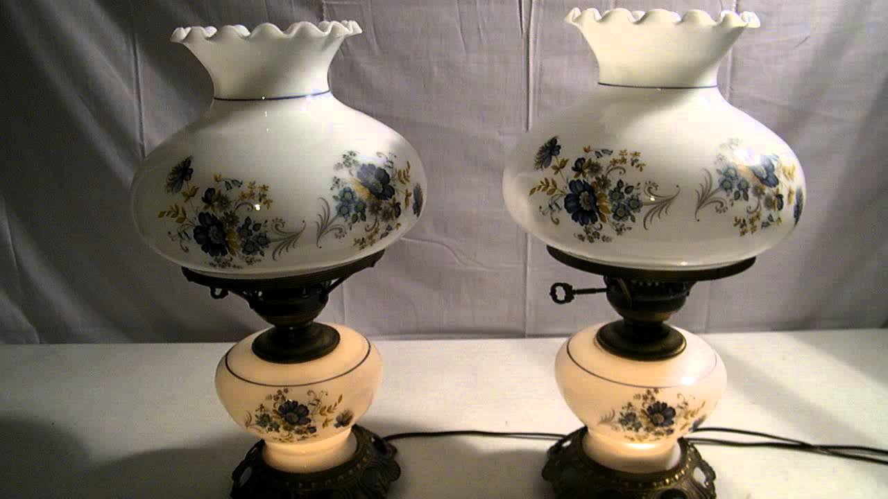 Vintage owl lamps - Vintage Pair Of Glass Gone With The Wind Hurricane Lamps W Painted Floral Flowers 3 Way Lighting Youtube