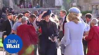 Prince Harry's ex Chelsy Davy arrives at royal wedding