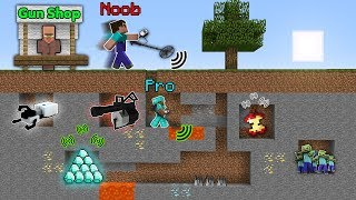 MINECRAFT NOOB VS PRO BUY METAL DETECTOR IN GUN SHOP FOR SEARCH LOOT ANIMATION BATTLE