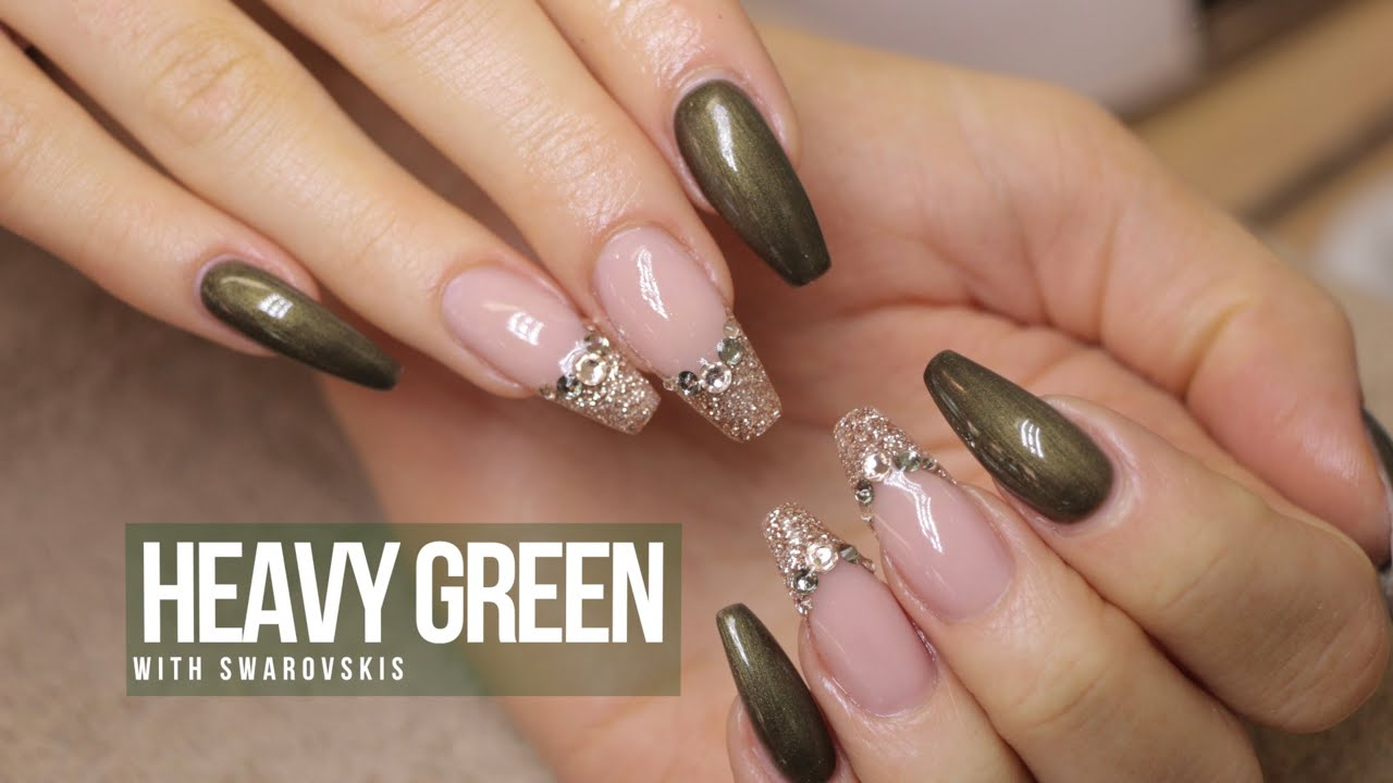 Acrylic nail design heavy green youtube prinsesfo Gallery