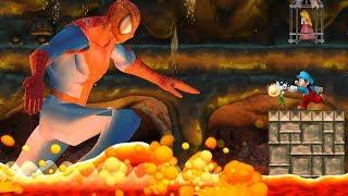 New Super Mario Bros Wii - Bowsette VS Spiderman Vs Baldi