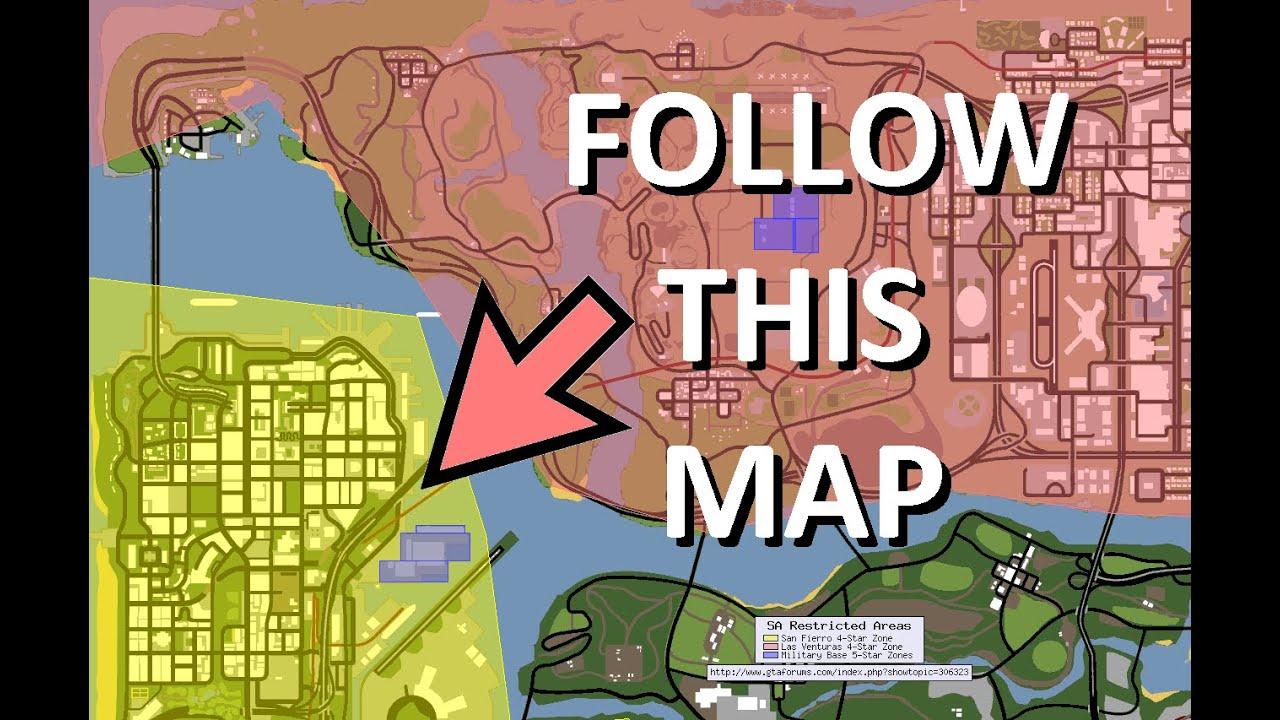 gta san andreas secrets map