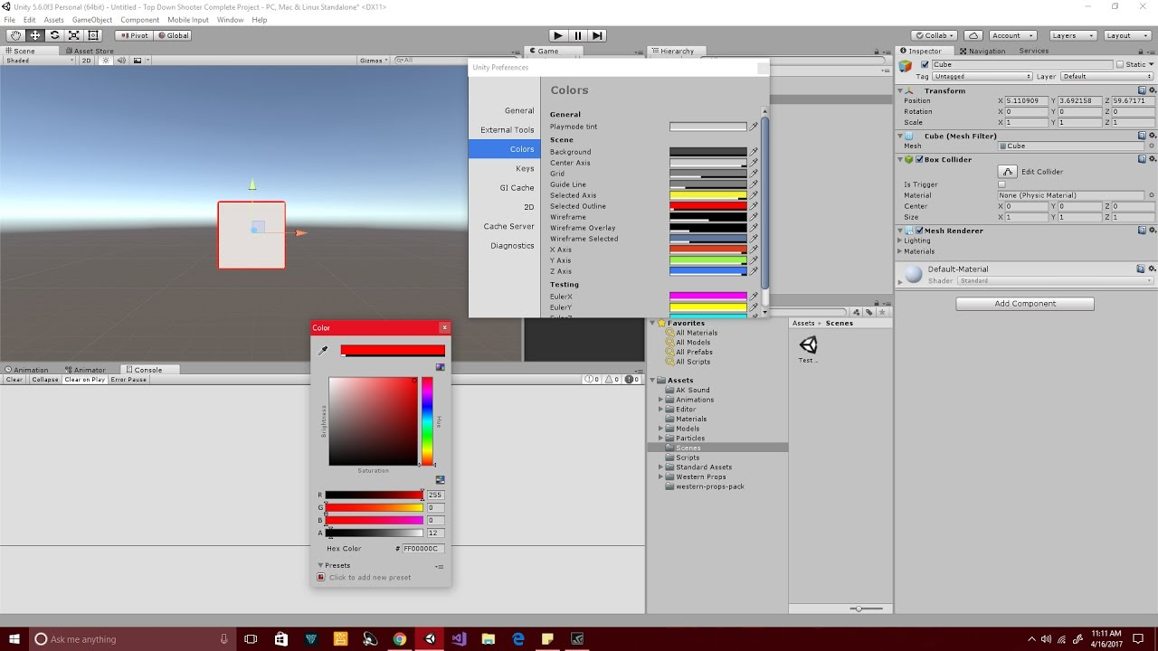 Unity 5 Change The Color Of A Selected Gameobject In Your Scene