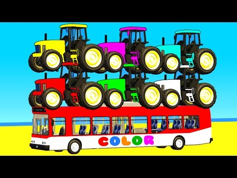 Thumbnail: COLOR TRACTOR with BUS in Spiderman Cars Cartoon for babies w Superheroes for kids!
