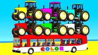 COLOR TRACTOR with BUS in Spiderman Cars Cartoon for babies w Superheroes for kids!