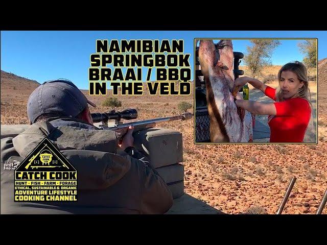Namibian springbok braai/BBQ in the Veld! [CATCHCOOK] Grunau, Namibia
