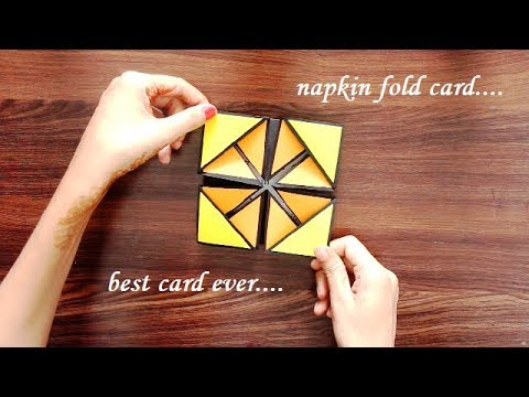 DIY - How to make Napkin fold card | Pull me napkin fold card for loved ones