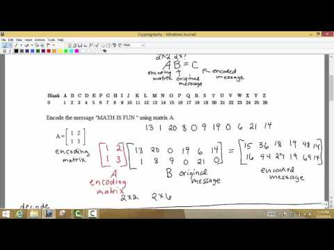 Math 1324 Section 4.5 Using Inverse matrices to Encode and Decode messages