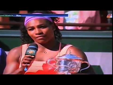 SERENA WILLIAMS GIVES 2015 FRENCH OPEN CHAMPIONSHIP SPEECH IN FRENCH