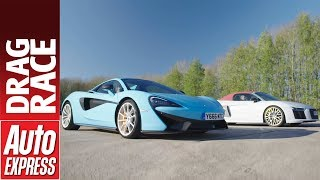 Audi R8 V10 Plus vs McLaren 570S Spider drag race - British vs German supercar power battle