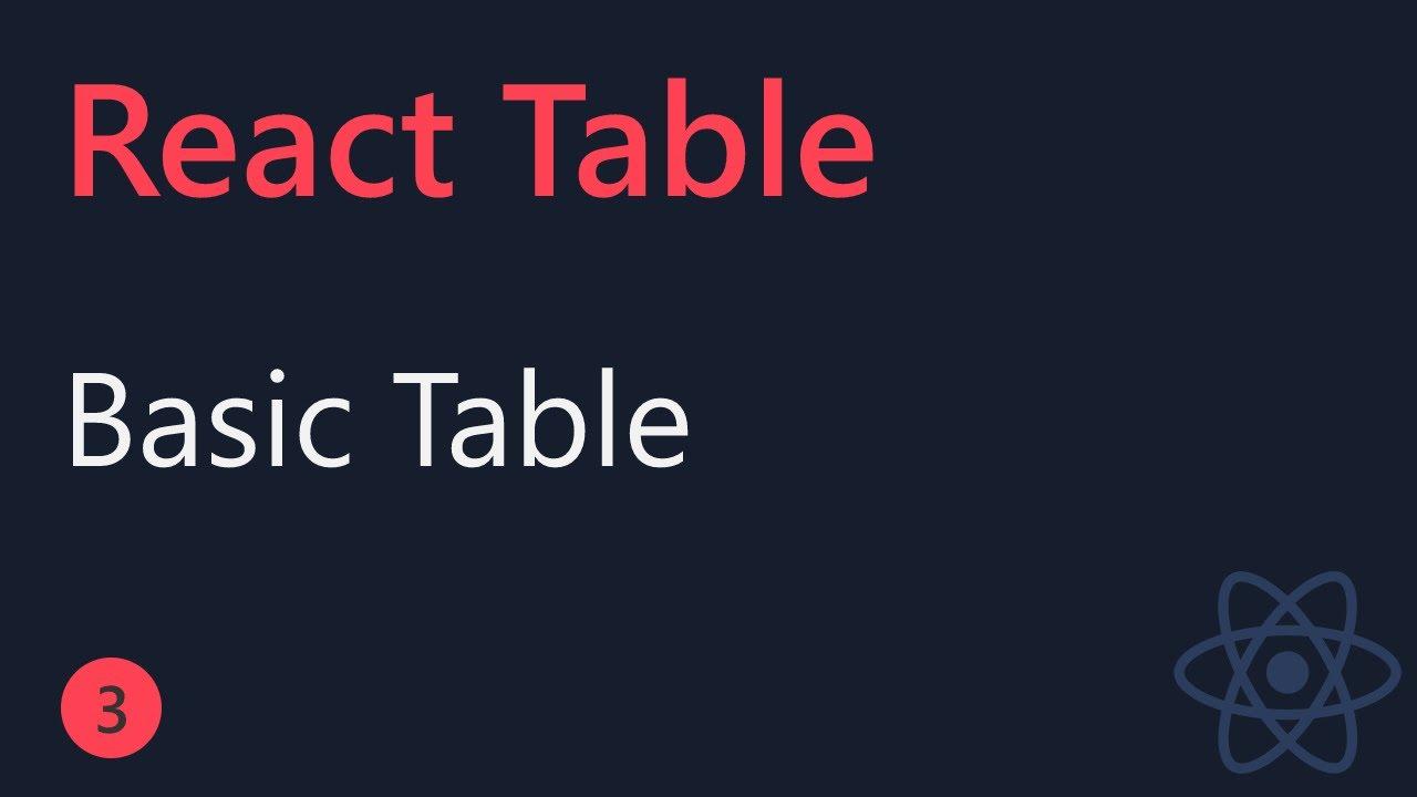 React Table Tutorial - Basic Table