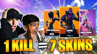 1 Kill = 7 Free Skins For My 10 Year Old Little Brother! Fortnite Skins Challenge!
