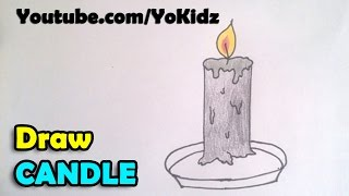 How to draw a candle step by step for kids